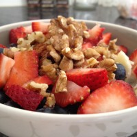 holiday breakfast with yogurt, fruit, and walnuts