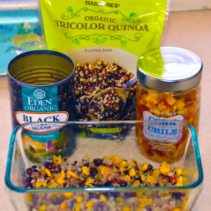 Quick and Easy Lunch - Quinoa, Black Bean and Corn Salsa.