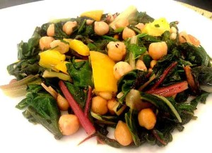 Lemony Swiss Chard with Garbanzo Beans and Pine Nuts