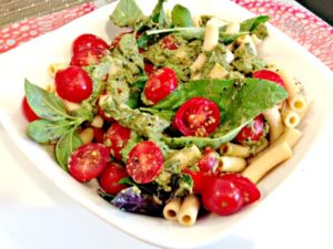 banza pasta with cherry tomatoes pesto HP