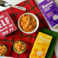 ingredients for sweet potato mac and cheese with banza chickpea pasta