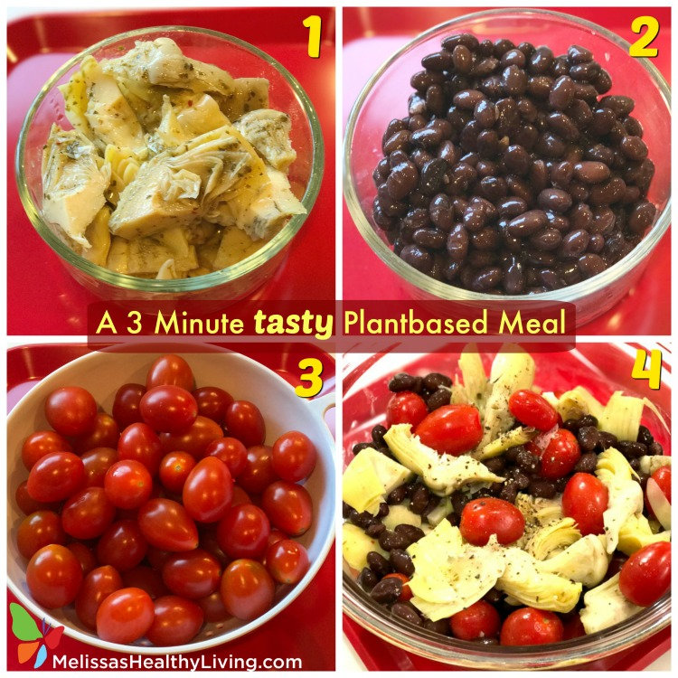 steps for artichoke salad with black beans and tomatoes