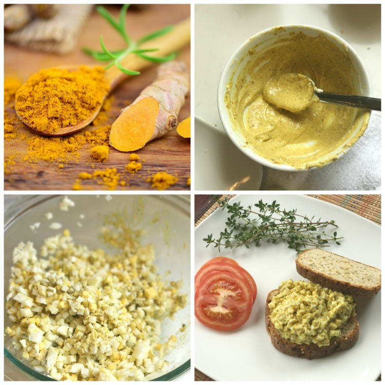 4 stages of making curried egg salad