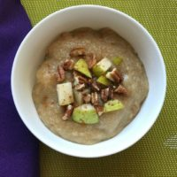 amaranth porridge with pears and pecans