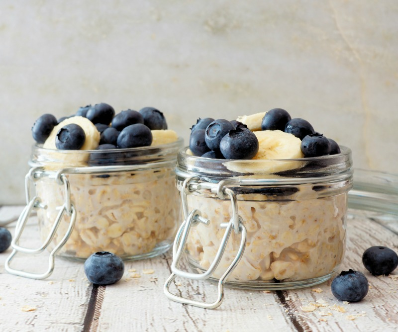 blueberry and coconut overnight oats in jars