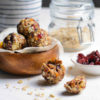 oat bites with cranberries and oats on a table