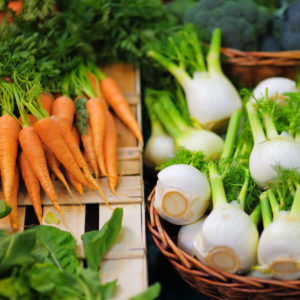 Fresh healthy bio fennel and carrots on Paris farmer agricultural market to use for sustainable cooking