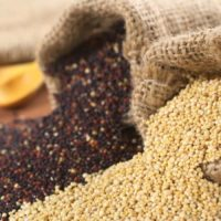 ancient grains and seeds in burlap bags